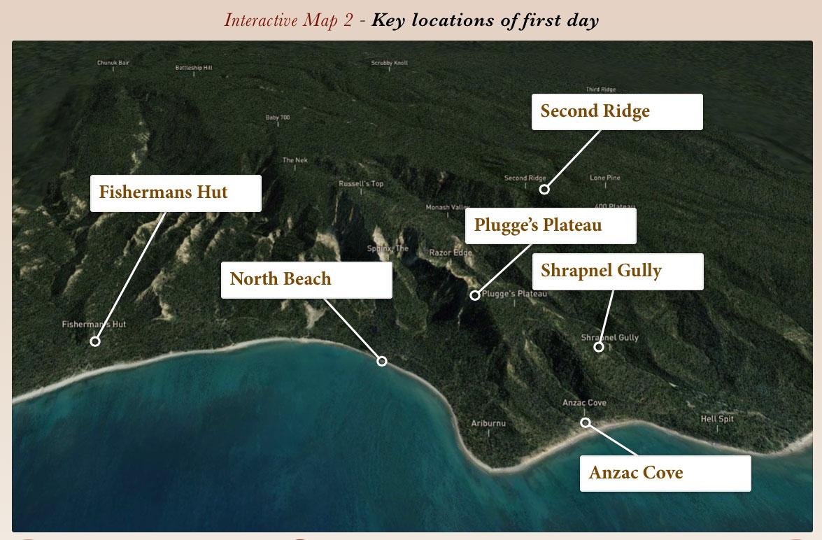 Gallipoli - Key landing locations